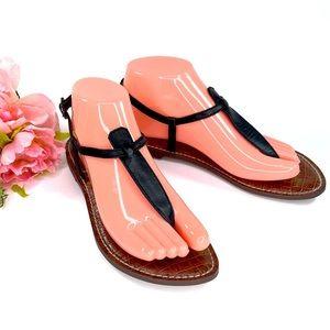 Sam Edelman Black Leather Gigi Thong Sandals Size 7
